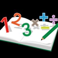 数字と記号が浮かんでいるノート
